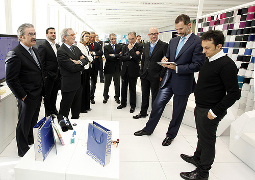 The Prince of Asturias and Girona visit the headquarters of Telefónica in Barcelona